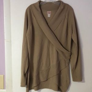 Canyon River Blues- Beige Crossover Sweater.